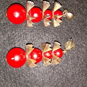 Vintage unique silver earrings with red balls